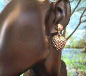 VINTAGE EARRINGS Pierced 1970/80s HEART Design Silver Tone Tone ART DECO RETRO.