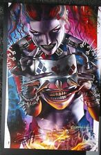 GREG HORN 11X17 GLOSSY SIGNED PRINT HARLEY QUINN ANGRY SPIKED FACE MASK DC NEW
