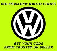 VW VOLKSWAGEN RADIO CODE | GOLF PASSAT JETTA BEETLE POLO TRANSPORTER FOX LUPO