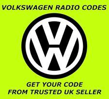 VW VOLKSWAGEN RADIO CODE   GOLF PASSAT JETTA BEETLE POLO TRANSPORTER FOX LUPO