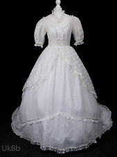 Vintage Wedding Dress 1980s Lace Victorian Belle Huge Train 10 R508 Halloween