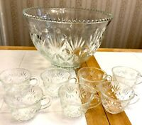 Beautiful Large Vintage Cut Glass Punch Bowl & 7 Cups