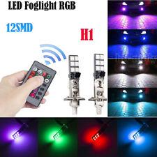 2x LED Remote Control 5050 RGB Color Changing Car H1 12SMD Head Fog Lights Bulbs