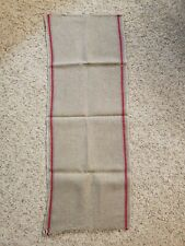 "Vintage Linen Kitchen Toweling Towel Fabric Red Blue Woven Stripe Edge 90""L"