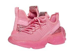 Steve Madden MAXIMA Womens Hot Pink Rhinestone Sneakers Shoes