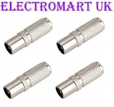 4 X EASY FIT SCREW ON TV AERIAL COAX COAXIAL PLUG MALE