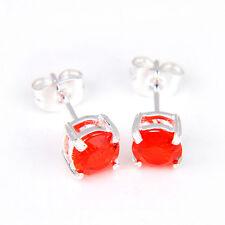 "Lovely Elegant Nice Red Fire Cognac Citrine Gemstone Silver Stud Earrings 5/8"""