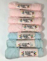 Vintage Lot of 7 Kolorkraft Sayelle Orlon 100% Acrylic Yarn Skeins Pink/Blue