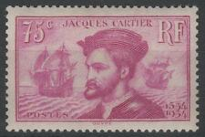 "FRANCE STAMP TIMBRE N° 296 "" JACQUES CARTIER CANADA 75c LILAS "" NEUF xx SUP K458"