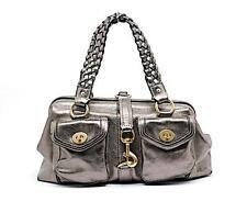 "COACH Pewter Pebble Leather Doctor's Bag w/Braided Straps + Metallic 15.5""x9.75"""