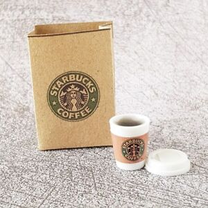 Starbucks Hot Coffee Cup in Bag Dollhouse Miniature Food Drink Beverage Decor