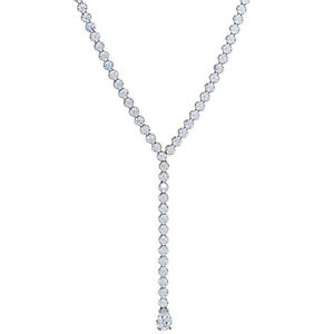 """14K White Gold Over 10.60 Ct Round Cut  18"""" Tennis Y-necklace"""