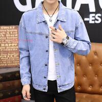 Mens Classic Casual Cotton Denim Jacket Jeans Coat Long Sleeve Pocket Outwear
