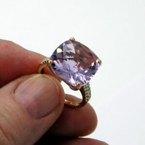 Estate Vintage Unusual 14K Yellow Gold Diamond Purple Amethyst Solitaire Ring