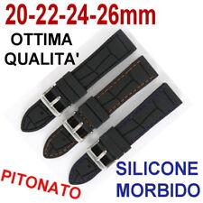 CINTURINO OROLOGIO SILICONE GOMMA NERO PITONATO BLU ARANCIO 20mm 22mm 24mm 26mm