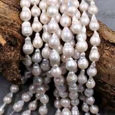 "Natural Freshwater White Pearl Fireball Irregular Nucleated Beads 16"" Strand"