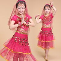 Kids Girls Belly Dance Costume Outfit Top Pants Bollywood Halloween Indian Dress