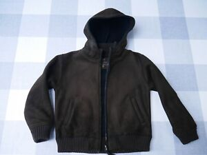 Boy Mid Season Brown Hooded Coat [buckskin imitation] 8y