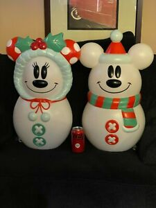 New 2021 Disney Mickey and Minnie Mouse Snowman Blow Mold 23'' Tall
