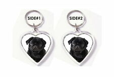 BLACK PUG HEART KEYRING BAG TAG -  PET PUPPY DOG LOVER BREED PHOTO FAN GIFT