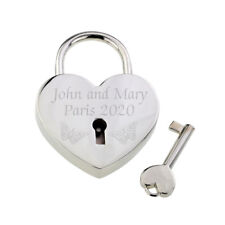 Personalised Butterflies Design Silver Love Lock Names Location Year XPE003