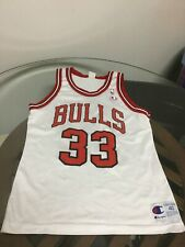 Chicago Bulls Scottie Pippen White Champion Jersey 40 Excellent Condition