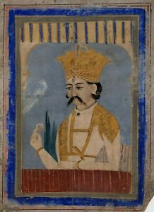 Early Indian painting of a prince, gouache and gilt on paper miniature