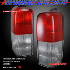 1997-2001 JEEP CHEROKEE OE STYLE TAIL LIGHTS RED CLEAR LENS PAIR 97 98 99 00 01