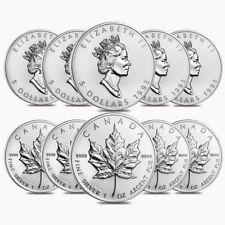 Lot of 10 - 1993 1 oz Silver Canadian Maple Leaf .9999 Fine $5 Coin BU (Sealed)
