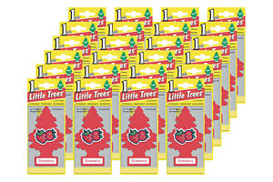 Little Trees Hanging Car and Home Air Freshener, Strawberry Scent - Pack of 24