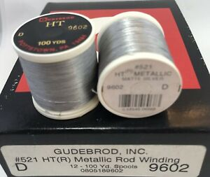 12 Spools GUDEBROD Metallic Rod Building Thread Matte SILVER #9602 Sz D 1200 Yd