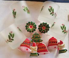 4 Cerve Frosted Holly Christmas Glasses & 8 Napkin Holders Made In Italy NEW