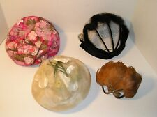 4 Vintage Hats 1 Mink 2 Floral 1 Feather Designs 1960s Used Nice