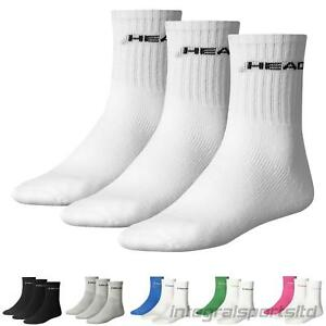 HEAD Sports Socks Mens Womens Short Crew Tennis Running (3 Pair Pack) UK 2-11