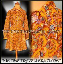 GIGI True Vintage 1970's Orange Floral Print Dress Retro Dagger Collar UK 6 8