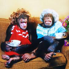Chimpanzee Birthday Card Chimps Tea Party Funny Monkey Animals Greeting Card NEW