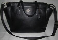 Coach Black Crossgrain Leather XL Extra Large Diaper Bag Tote Baby Boy or Girl