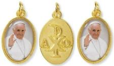 Gold Pope Francis Medal with Christogram Symbol Chi Rho Cross, Lot of 3, 1 Inch