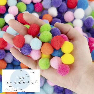 Two Sisters 250 Pcs 1 Inch Pom Poms in Bright & Bold Assorted Colors DIY Crafts