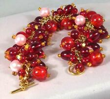 Unique Handmade in UK Red beads on golden chain charm bracelet One of a kind