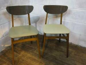 PAIR Of 1960's KITCHEN DINING CHAIRS PADDED PVC SEATS.