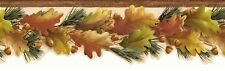 Oak Leaves and Acorns on Pine Branch Die Cut Lodge Wallpaper Border LL50122B