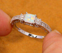 2Ct Cushion Cut Fire Opal Diamond Solitaire Engagement Ring 14K White Gold Over