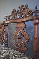 Museum quality  French Antique Renaissance  Carved Oak Sofa Bench