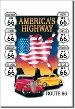 """2"""" X 3"""" Metal Sign Refrigerator Magnet America's Highway Route 66  Eight States"""