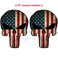 "Yeti American Flag Punisher TWO (2) 2.75"" Phone Yeti Decals Stickers"