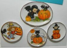 Dollhouse Miniature Halloween Dishes with Black Cat Pumpkins Porcelain 1:12