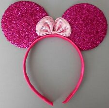 Minnie mouse ears hairband fancy dress party hen night glitter cerise