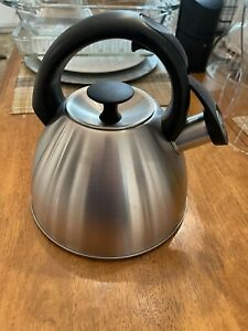 OXO Click Click 18/8 Stainless Steel Tea Kettle Black Handle 2.1 Quarts 2 Liters