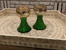 BOHEMIAN GREEN GLASS GOBLET ETCHED CRYSTAL VINTAGE GRAPES GOLD GILT RIBBED STEM